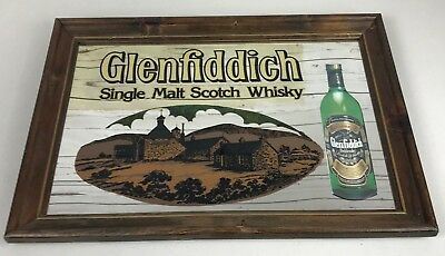 Glenfiddich Single Malt Scotch Whisky Mirror Framed Bar Sign Vintage RARE 20x14""