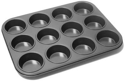 12 Deep Cup Muffin Non Stick Muffin Fairy Cake Baking Mould Tray Tin Free P&p