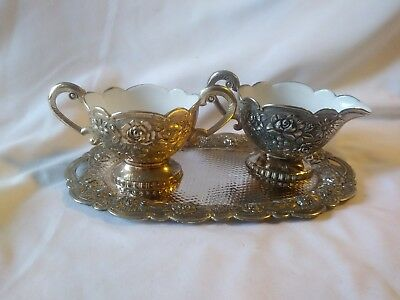 Antique Victorian Silverplate Porcelain/Enamel Lined cream sugar set
