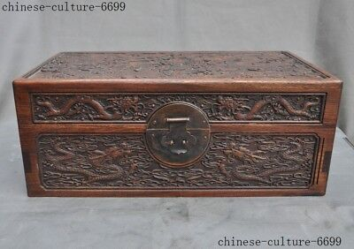"16""Old Chinese Huanghuali Wood Carved 10 dragons Totem storage boxes Jewelry Box"