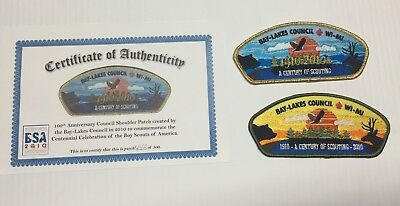 BSA Bay-Lakes Council Limited Edition Patch 100 Years, Cert Of Auth, 1 of 500