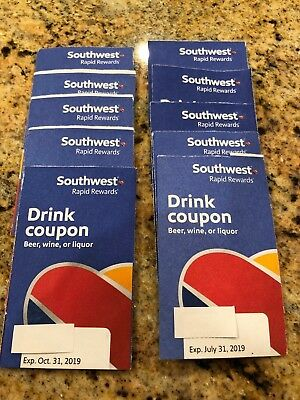 Southwest Airlines Drink Coupon lot (10 total) SW No Reserve