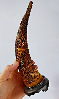Chinese Antique Qing Exceptional Carved Ox Horn - Finest Detail Canton Pierced