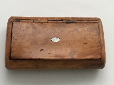 Rare Antique 19th Century Treen Walnut Wooden Mother of Pearl Tobacco Snuff Box