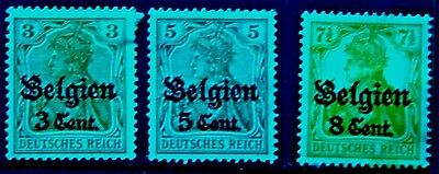 German Occupation of Belgium. 1916.  Group of 3. S.G.11-13  MH.