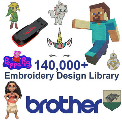 LATEST 140,000+ BROTHER Embroidery Designs Library (PES Format) Cards 16GB USB