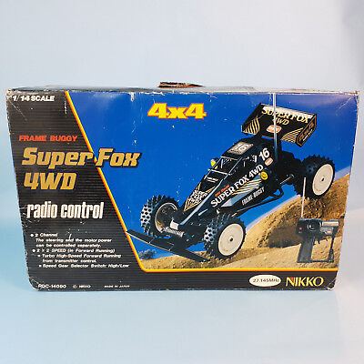 Vintage RC 1988 Nikko Super Fox 4WD 1/14 Frame Buggy OVP Boxed working TOP