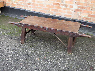 Lovely Antique Oak And Iron Two Man Porters Bench / Pig Cratch