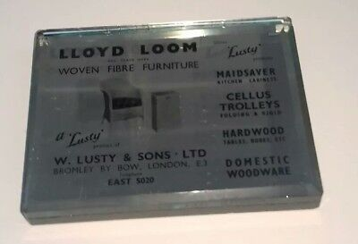 Lloyd Loom Mirrored Paperweight 'early', Advertising, Lusty Reg.t.m. Bow London