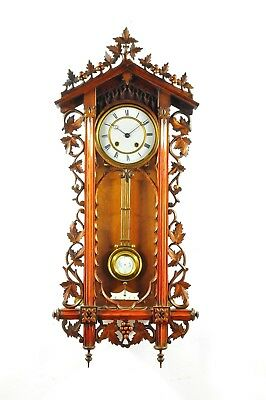 Gorgeous Antique German Black Forest Carved Wall Clock  approx.1880