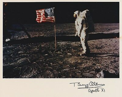 LAST ONE-Buzz Aldrin  Signed 8 x 10 NASA Kodak Photo on moon with Flag (7a)