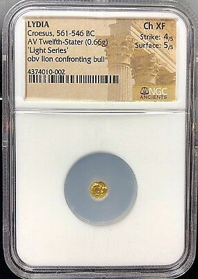 """King Croesus 561-546 BC Gold 1/12 Stater """"Light Series"""" Gold Fractional NGC CHXF"""