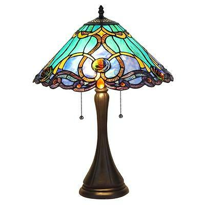 "Stained Glass Chloe Lighting Victorian 2 Light Table Lamp 16"" Shade Handcrafted"