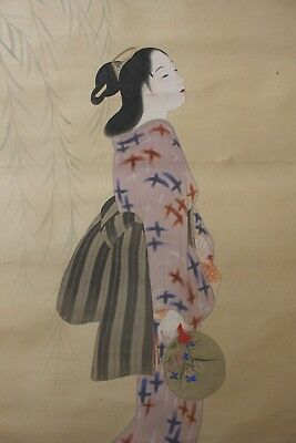 M09V0 ~Gorgeous Kimono Beauty looking up the Moon~ Japanese hanging scroll