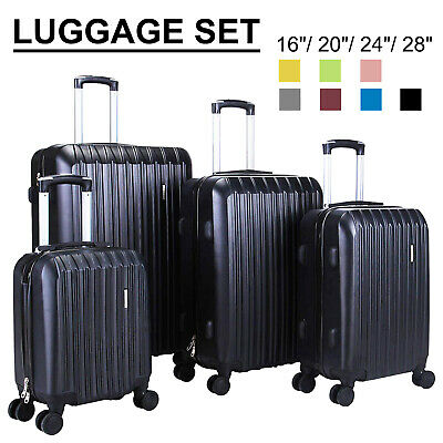 "3/4Pcs Travel Luggage Set Bag Trolley Spinner Suitcase ABS w/Lock 16""20""24""28"""
