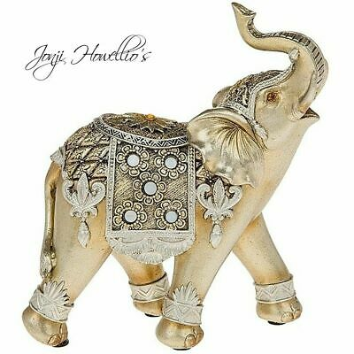 Gold Pearl Circle ELEPHANT Ornament Figurine Jumbo Elephants Gift
