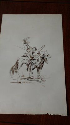 Vintage Original Ink Drawing , Don Quixote Signed Moreno
