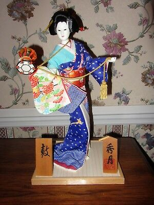 "18"" Antique Asian Japanese Geisha Doll w Blue Kimono on Balsa Wood Stand Signed"