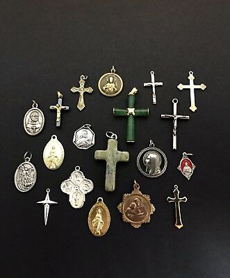 Lot of 19 Vintage Catholic Religious Gold Medals Crosses Pendants Saint Charms