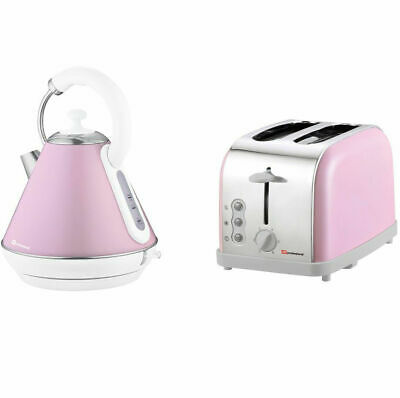 1.8L Electric Swivel Cordless Kettle & 2 Slice Wide Slot Toaster Set SQ Pink