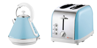 1.8L Electric Swivel Cordless Kettle & 2 Slice Wide Slot Toaster Set SQ SL Blue