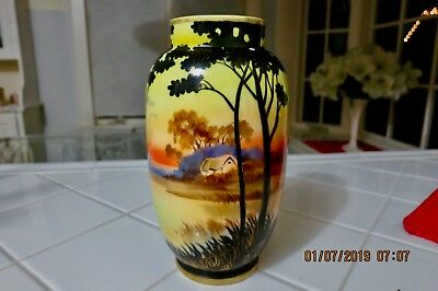 Lovely Vintage Nippon Vase Trees, Water, House, Scene-Mostly Yellow Black
