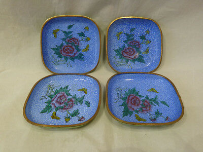 Vintage Chinese Canton Enamel Dishes x 4