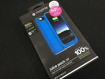 NEW OpenBox Mophie Juice Pack Air 100% Ext Impact Protection Case Iphone 6 BLUE