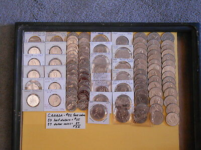 World Coin Lot:  $82 Face Value of Canadian Half Dollars and $1 Coins
