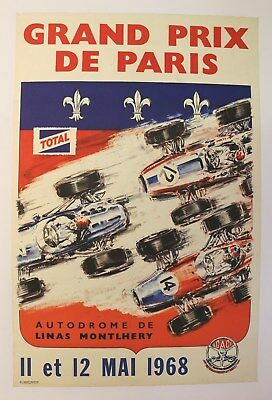 AFFICHE ANCIENNE Grand Prix PARIS Linas Monthléry 1968 no Géo Ham Béligond TOTAL