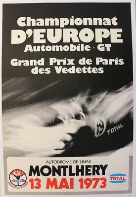 Affiche Ancienne Gp Paris Vedettes Linas Monthlery 1973 Championnat Europe Gt