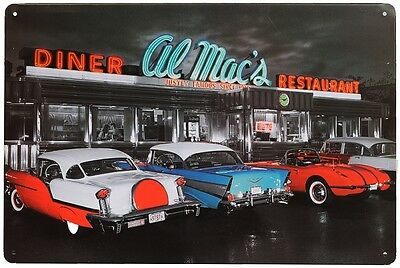 Retro Blechschild Al Macs Diner Nostalgie Metallschild Chevrolet Corvette US car