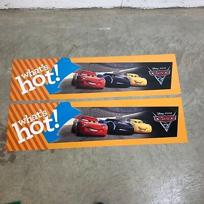 (2) Disney Pixar CARS 3 WHATS HOT STORE DISPLAY SIGN BANNER 48X12 DOUBLE SIDED
