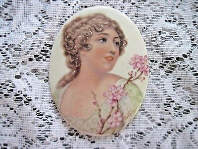"""Lovely Young Girl on Hand Painted Porcelain Plaque~3"""" x 4""""~Signed"""