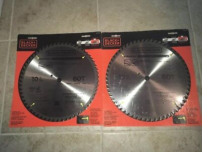 "BLACK & DECKER 2 pack 10"" 60T PIRANHA SAW BLADE 5/8"" ARBOR CARBIDE TIPPED 77-770"