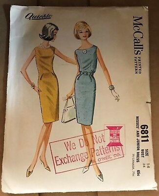 1960s VINTAGE SEWING PATTERN McCALL'S 6811 MISSES & JUNIOR DRESS SIZE 14 BUST 34