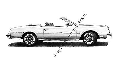 1982/1983/1984/1985 White Buick Riviera Turbo Convertible drawing/picture/print