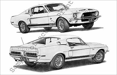 Beautiful 1968 Shelby Mustang 500-KR Coupe 2-view 11x17 drawing/print/picture 68