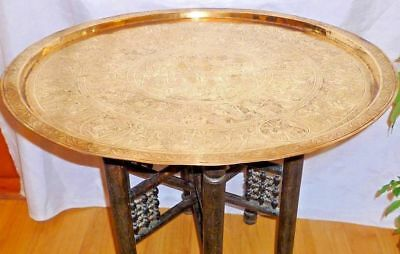 Antique Egypt Engraved Egyptian Ancient figures 65cm Brass Table Tray with Stand
