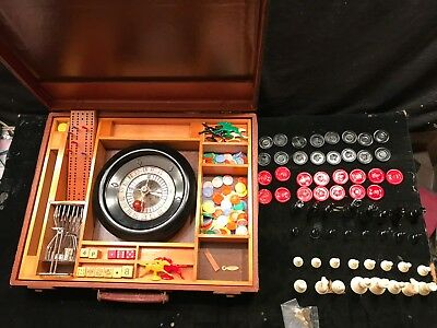 Vintage Gaming Set with Roulette Wheel Instructions, As is