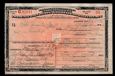 Prohibition Prescription Old 1925 Doctor Wood Pharmacy Bar Whiskey MA Canaan CT