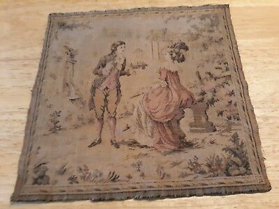 Vintage Woven Textile Wall Art / Victorian Couple / Made In France
