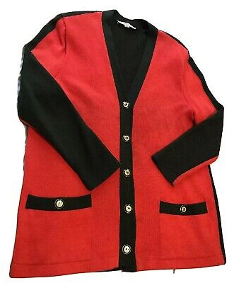 ST. JOHN Collection Marie Gray size 12 red Green Knit blazer with gold details