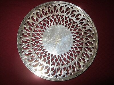 """Sheffield #58 Silverplate Cake Plate Forbes Silver Co. 1930 With Monogram """"r"""""""