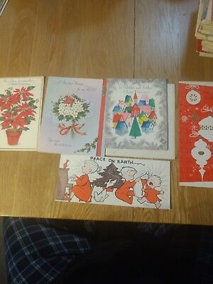 Vintage Christmas Card Unused lot of 5 cards poinsettia, glitter, family