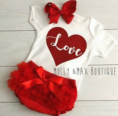 Luxury Girls Love My First Valentine's Day Outfit Vest Tutu Knickers Photo Shoot