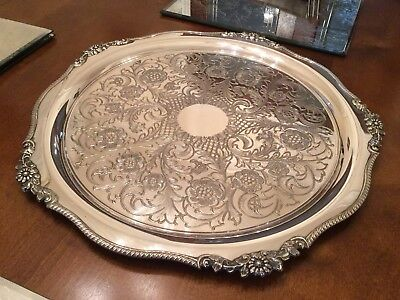Beautiful Vintage Viners Silver Plated Chased Drinks Tray