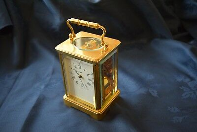 """antique french brass case  carriage clock 5"""" tall"""