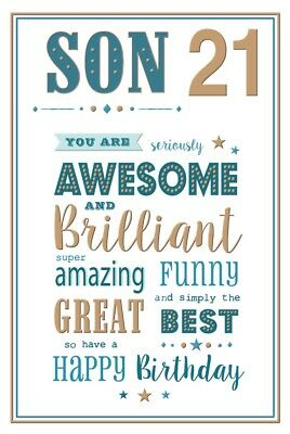 21st SON BIRTHDAY CARD AGE 21 MODERN DESIGN QUALITY NICE VERSE