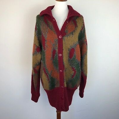 Vintage Womens Oversize Cardigan Sweater 60s Large Red Leaves Japan Wool Blend